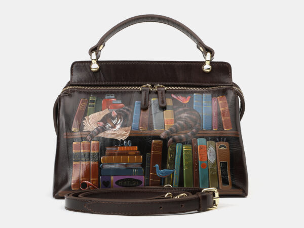 Вместительная коричневая сумка с росписью ATS-4133
