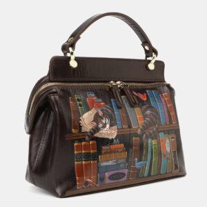 Вместительная коричневая сумка с росписью ATS-4133 236625