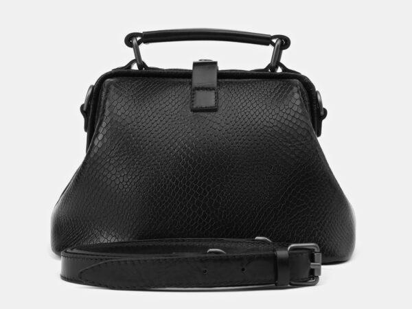 Кожаная черная женская сумка ATS-4136