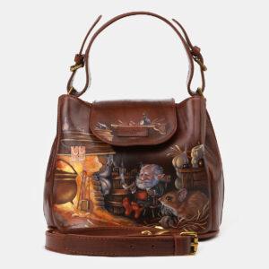 Функциональная светло-коричневая сумка с росписью ATS-4134