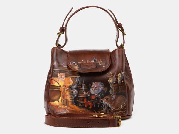 Уникальная светло-коричневая сумка с росписью ATS-4134