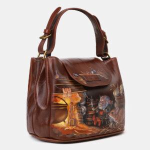 Уникальная светло-коричневая сумка с росписью ATS-4134 236620