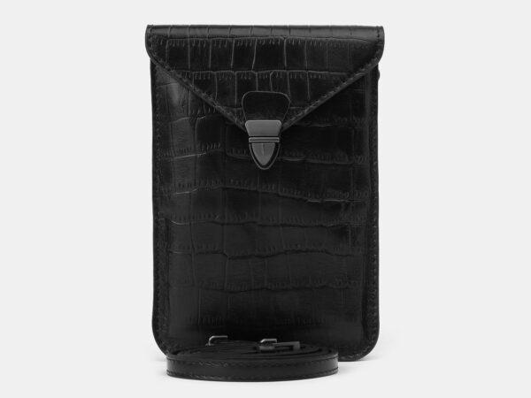 Кожаный черный женский клатч ATS-4137