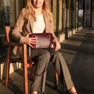 Кожаная бордовая женская сумка через плечо FBR-2477 236837