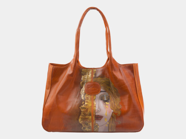Уникальная оранжевая сумка с росписью ATS-2815