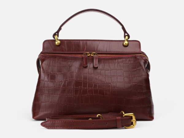 Кожаная бордовая женская сумка ATS-4186