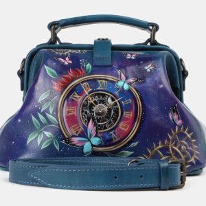 Стильная зеленовато-голубая сумка с росписью ATS-4178