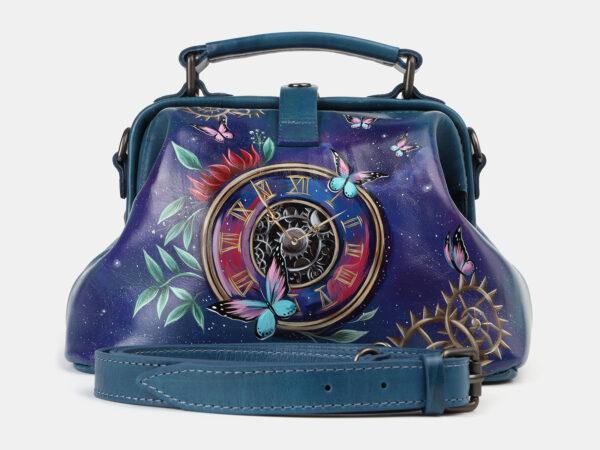 Деловая зеленовато-голубая сумка с росписью ATS-4178