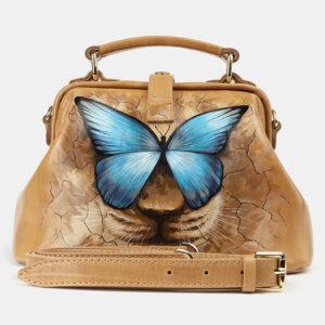 Модная бежевая сумка с росписью ATS-4176