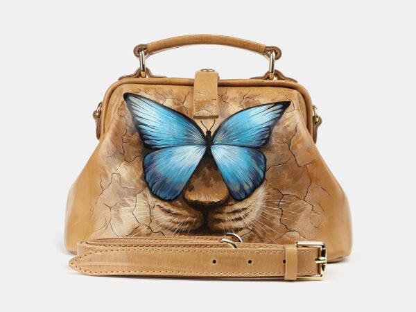 Солидная бежевая сумка с росписью ATS-4176
