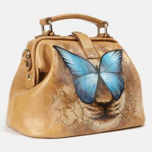 Солидная бежевая сумка с росписью ATS-4176 237184