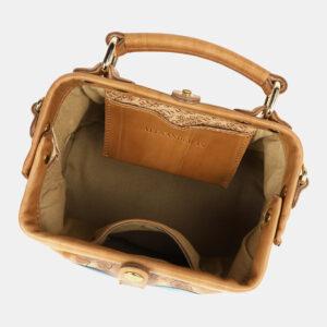 Солидная бежевая сумка с росписью ATS-4176 237186