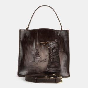 Функциональная коричневая сумка с росписью ATS-4180
