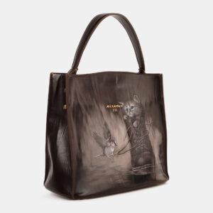 Вместительная коричневая сумка с росписью ATS-4180 237164