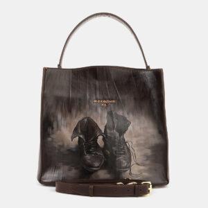 Кожаная коричневая сумка с росписью ATS-4179