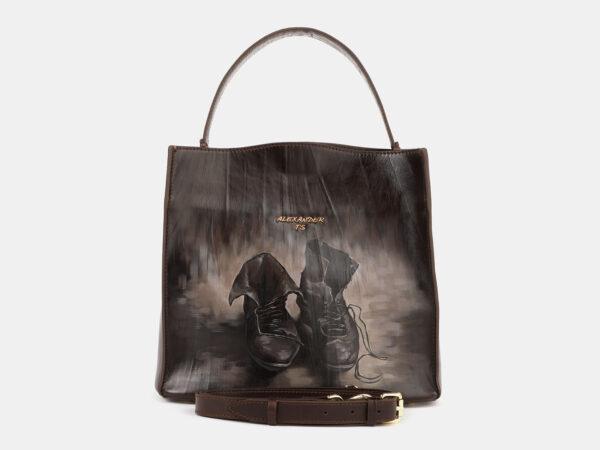 Функциональная коричневая сумка с росписью ATS-4179