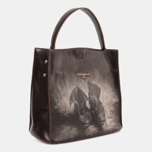 Функциональная коричневая сумка с росписью ATS-4179 237169