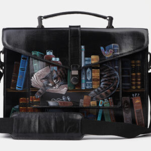 Стильный черный портфель с росписью ATS-4201