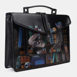 Стильный черный портфель с росписью ATS-4201 237354