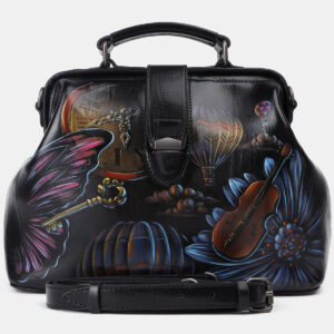 Вместительная черная сумка с росписью ATS-4204