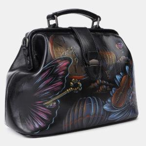 Удобная черная сумка с росписью ATS-4204 237344