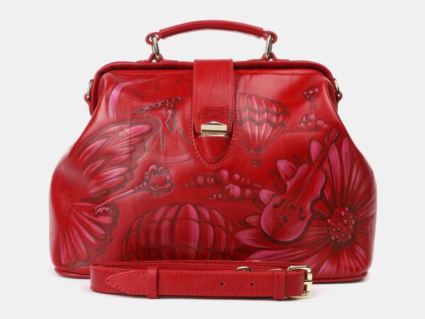 Кожаная красная сумка с росписью ATS-4206