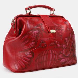 Кожаная красная сумка с росписью ATS-4206 237334