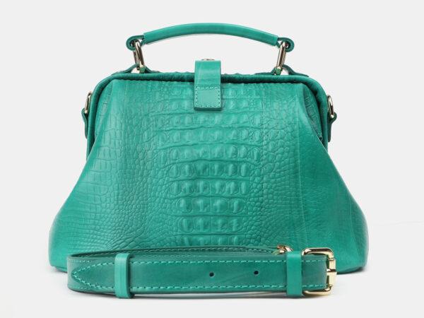 Кожаная зеленая женская сумка ATS-4210