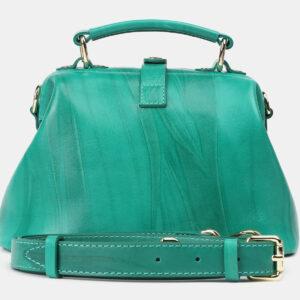 Кожаная зеленая женская сумка ATS-4208