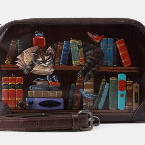 Функциональный коричневый клатч с росписью ATS-4203
