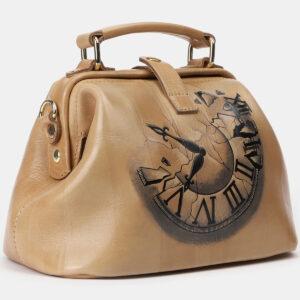 Уникальная бежевая сумка с росписью ATS-4162 237056