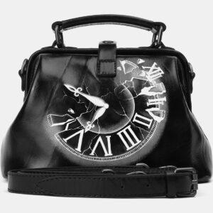 Стильная черная сумка с росписью ATS-4164