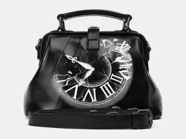 Модная черная сумка с росписью ATS-4164