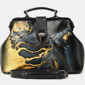 Модная черная сумка с росписью ATS-4165