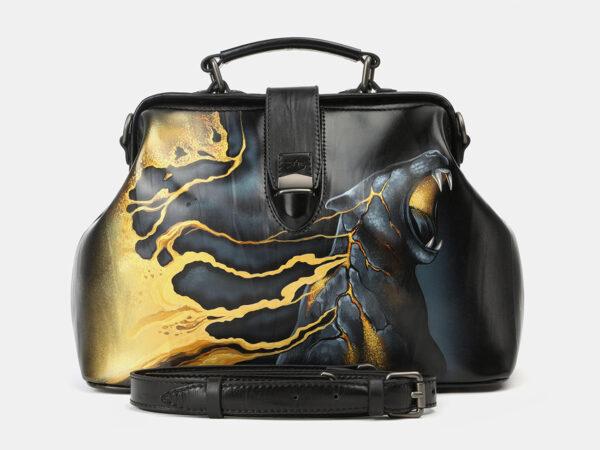 Вместительная черная сумка с росписью ATS-4165