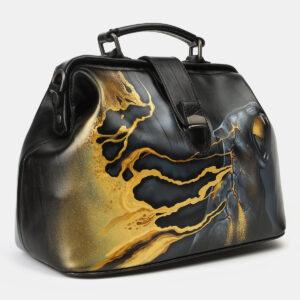 Вместительная черная сумка с росписью ATS-4165 237041