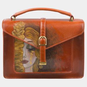 Удобная оранжевая сумка с росписью ATS-2816