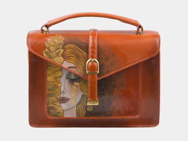 Функциональная оранжевая сумка с росписью ATS-2816