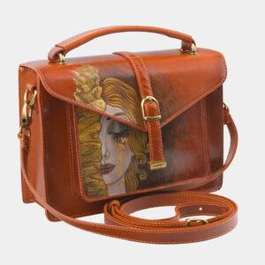 Функциональная оранжевая сумка с росписью ATS-2816 237632