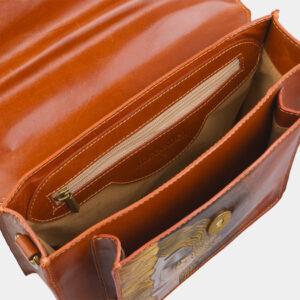 Функциональная оранжевая сумка с росписью ATS-2816 237633
