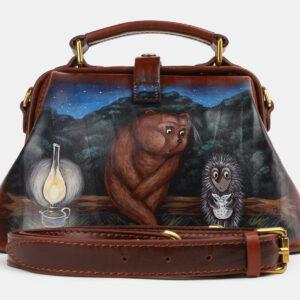 Неповторимая светло-коричневая сумка с росписью ATS-4230