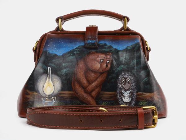 Удобная светло-коричневая сумка с росписью ATS-4230