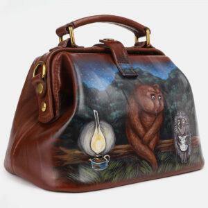 Удобная светло-коричневая сумка с росписью ATS-4230 237444