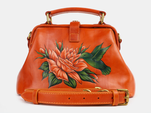 Кожаная оранжевая сумка с росписью ATS-4229
