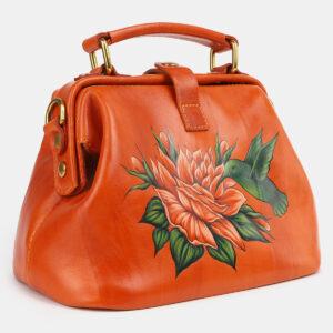 Кожаная оранжевая сумка с росписью ATS-4229 237449