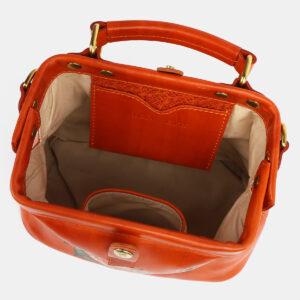 Кожаная оранжевая сумка с росписью ATS-4229 237451