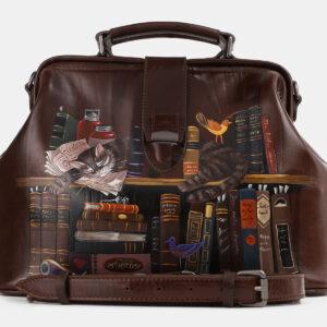 Кожаная коричневая сумка с росписью ATS-4228