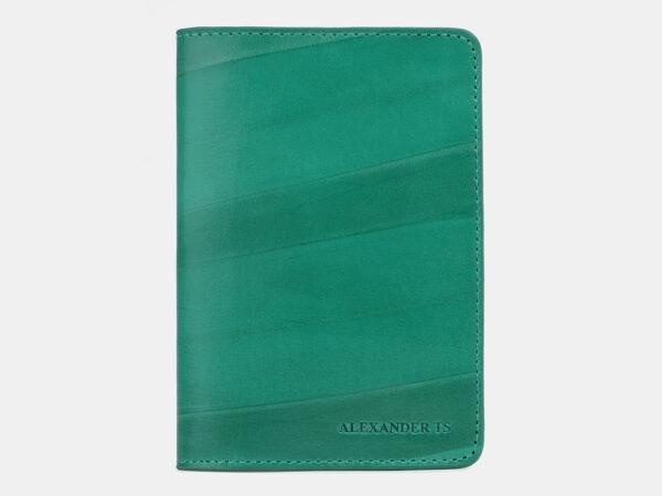 Солидная зеленая обложка для паспорта ATS-4256