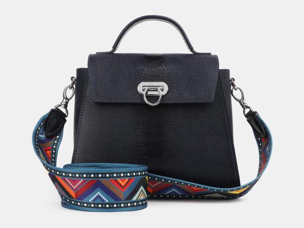 Кожаная синяя женская сумка ATS-4222