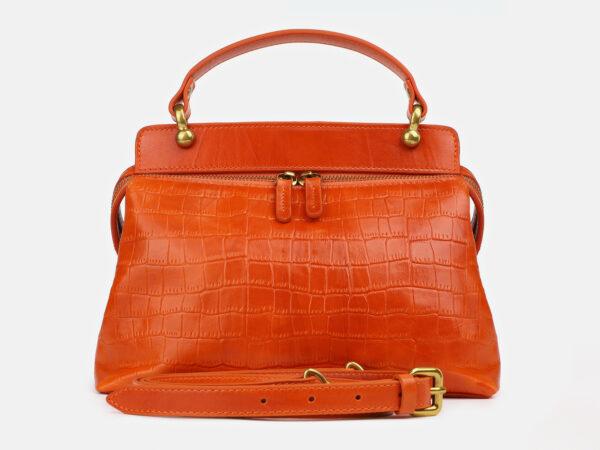 Кожаная оранжевая женская сумка ATS-4224